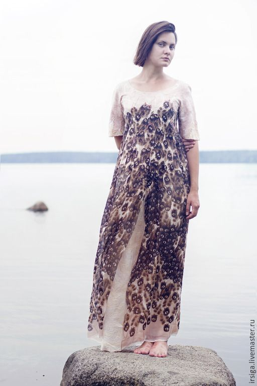 """Купить Платье валяное """" High flight"""" - бежевый, бежевое платье, валяное платье"""