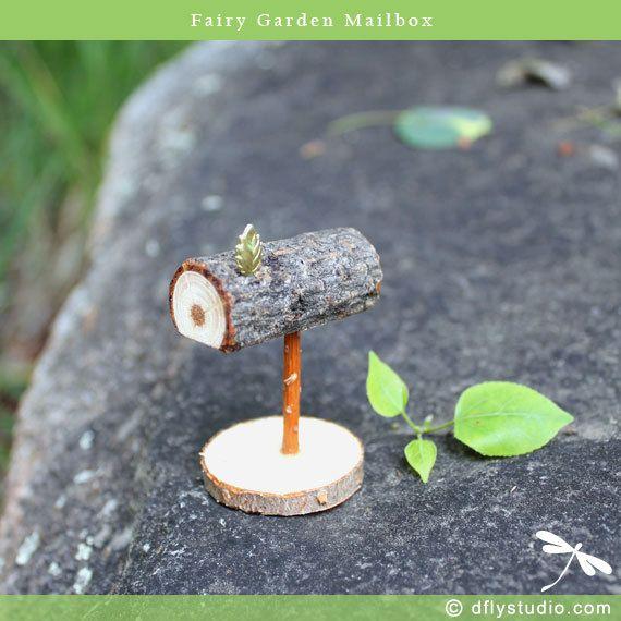 Tiny fairy garden mailbox with brass leaf flag for fairy gardens, miniatures, dollhouses, bonsai and succulent gardens or party decor
