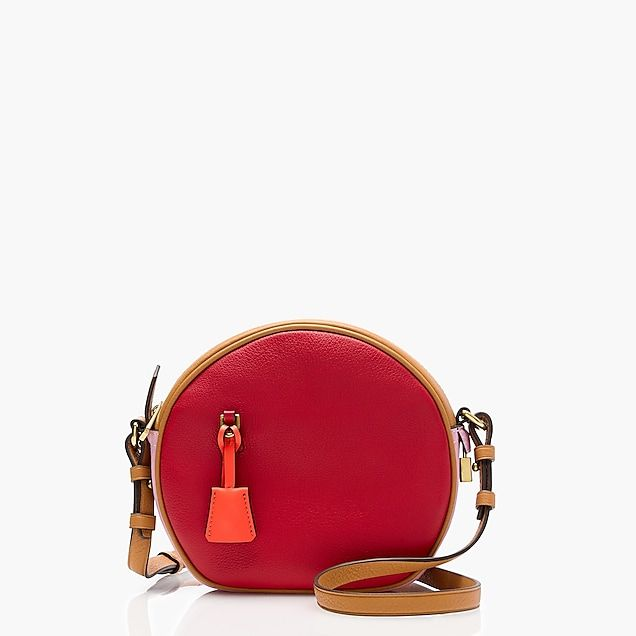 women's signet circle bag in colorblock italian leather - women's bags
