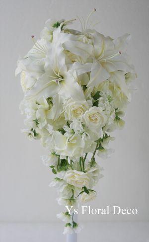 白ユリのキャスケードブーケ  アーティフィシャルフラワー ys floral deco