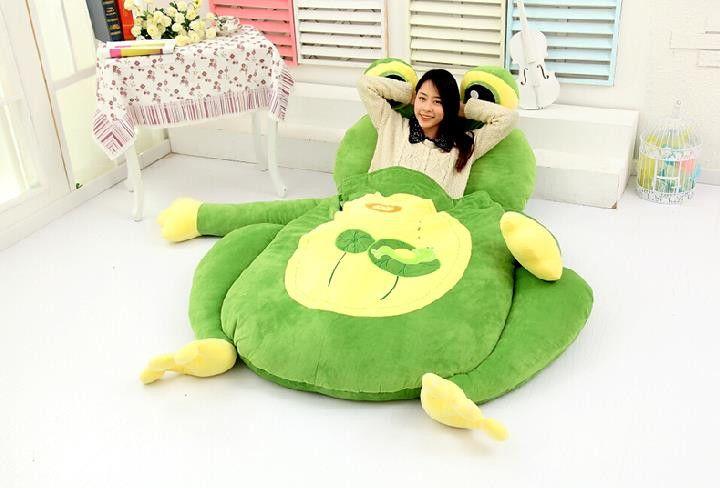 Amazing Giant Plush Frog Sleeping Bag Bed Just No Giant Plush Interior Design Ideas Inesswwsoteloinfo