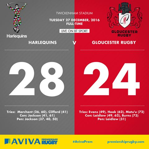 WOW! What a second half at Twickenham as Harlequins Rugby Union beat Gloucester Rugby 28-24 after a breathless second half.