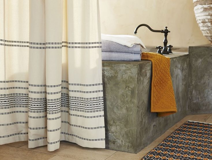 Coyuchi Rippled Stripe Shower Curtain (Deep Pewter W/Mustard) Woven  Scallops And Stripes Traverse Organic Cotton, Bringing Unexpected Verve To  The Bath.
