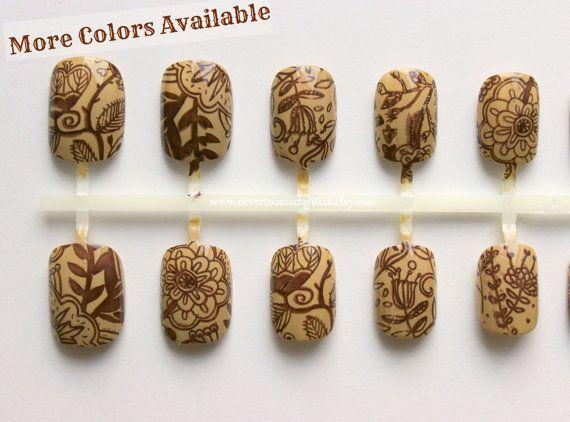 Vintage Botanical. Fake Nails In Your Choice Of Colors. Shabby Chic, False Nails, Short Fake Nails, Vintage, Press On Nail, Acrylic Nail