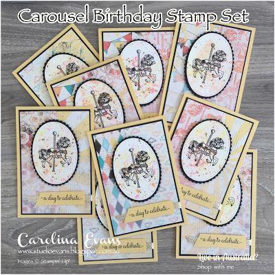 Carolina Evans - Stampin' Up! Demonstrator, Melbourne Australia: Carousel Birthday Swap Cards #CI01