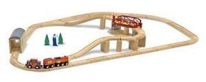 Melissa&Doug, set de train en bois avec pont, 47 pièces. 3+ans. 74.99$ Disponible en boutique ou sur notre catalogue en ligne. Livraison rapide au Québec.  Achetez-le info@laboiteasurprisesdenicolas.ca