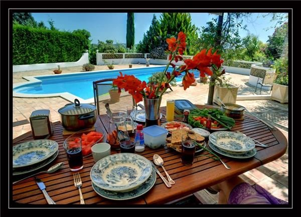 Breakfast on the terrace. Lagos, Algarve, Portugal.