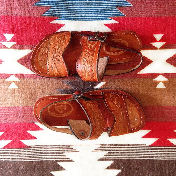 Authentic Indian Tooled Leather Slingback by KodachromeVintage