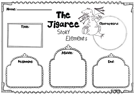 """Story Elements worksheet for the book by Joy Cowley """"The Jigaree"""" Made by the M&M's"""