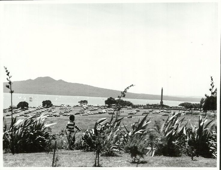Bastion Point from Orakei Marae, on Regatta Day, January 1977   by Archives New Zealand