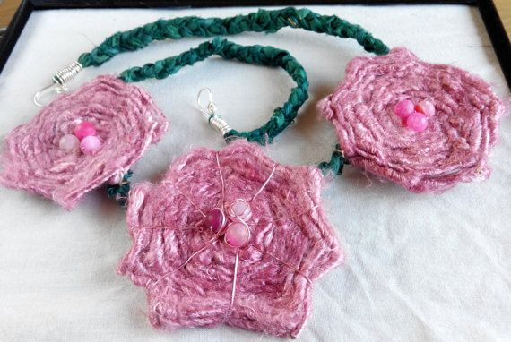 Soft pink flowers on a vine necklace recycled sari by terramor