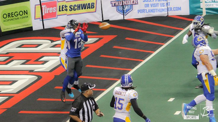 Jamar Howard catches the pass at the goal line against the Tampa Bay Storm. He was ruled down at the one-yard line.