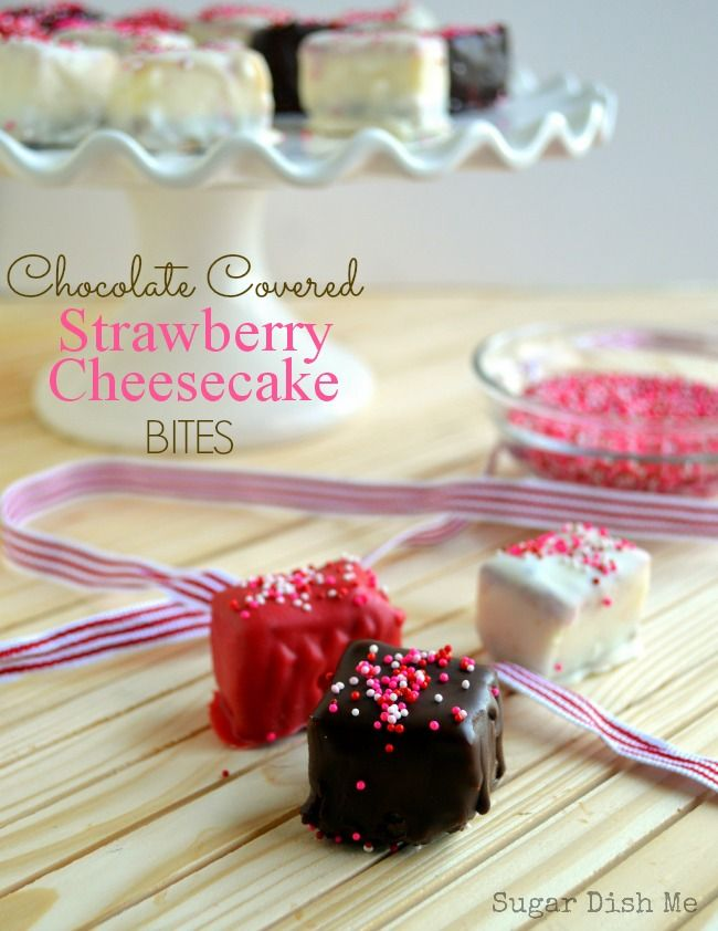 Chocolate Covered Strawberry Cheesecake Bites creamy cheesecake, a graham cracker crust, strawberry sauce and a chocolate coating! Plus it's finger food. Win!!!