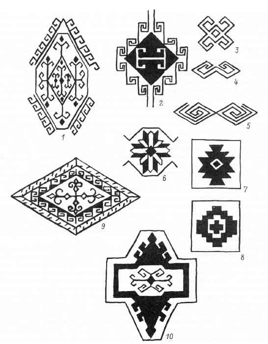Patterns from haircord carpets from Kazahkstan