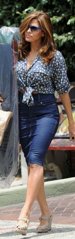 Who made  Eva Mendes' nude Shirt – Asos    Shoes – Christian Louboutin    Sunglasses – Thierry Lasry    Skirt – Dolce & Gabbana