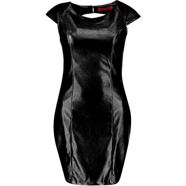 Boohoo Angie Metallic PU Cut Out Back Bodycon Dress | Boohoo (4.730 HUF) ❤ liked on Polyvore featuring dresses, bodycon dress, pu dress, metallic cocktail dress, boohoo dresses and body con dress