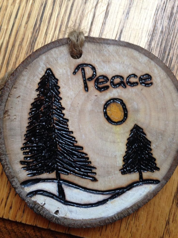 Rustic Pine tree & peace hand painted wood burned Christmas ornament - natural wood