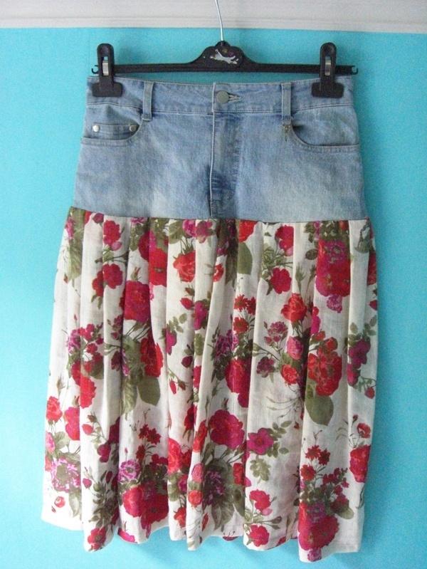 how to make a jean skirt shorter