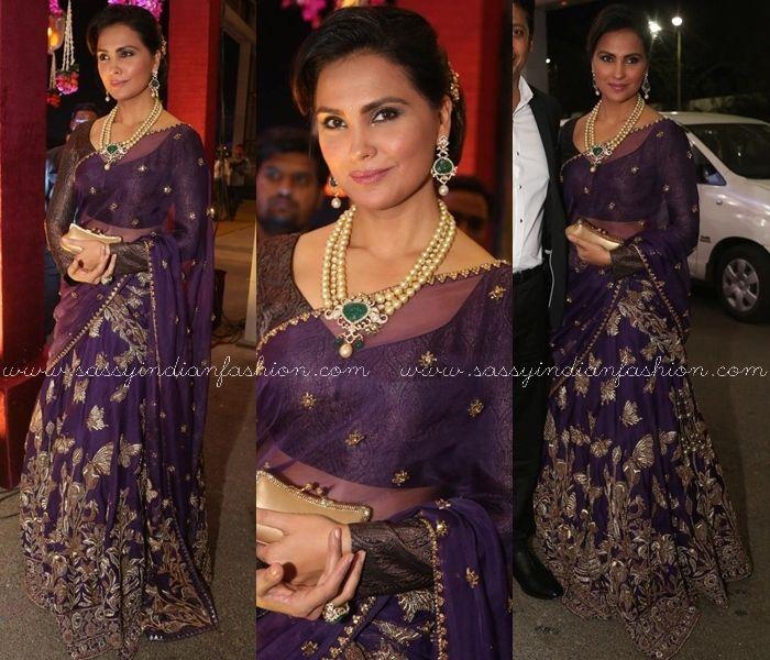 Lara Dutta in Purple Saree, Celebrity in Purple Saree, Bollywood Celebrities in Purple Saree, Purple Saree Makeup and Style Ideas.