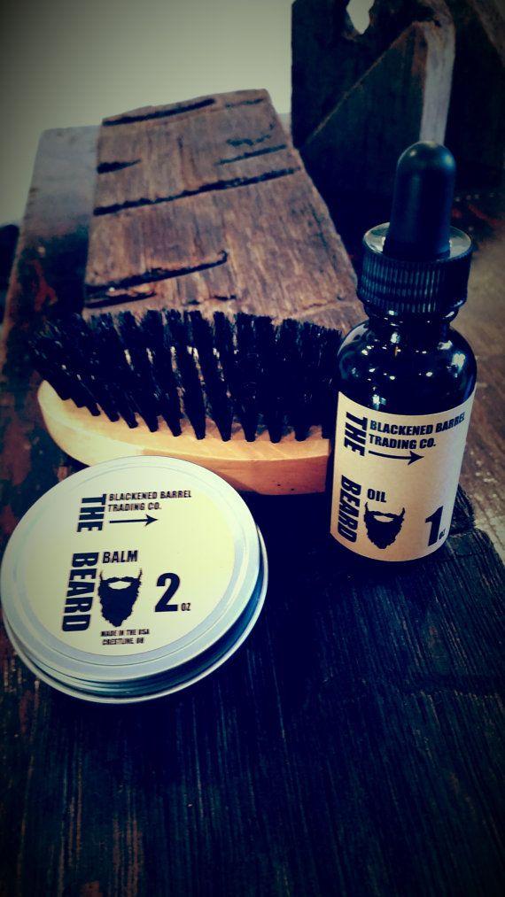 Beard kit FREE SHIPPING beard balm 1oz oil by TheBlackenedBarrel