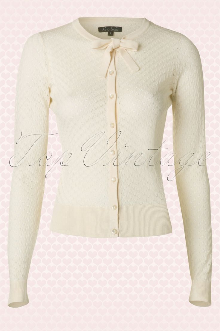 King Louie - 40s Zigzag Cardigan in Cream