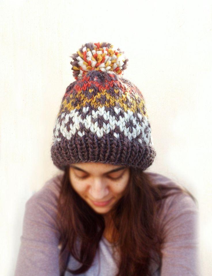 Knit Fair Isle Bulky Wool Hat, Unisex Fair Isle Hat, Chunky Knit Fair Isle Hat with Pom Pom, Unisex Fair Isle Beanie, Bulky Brown Knit Hat by ManaKori on Etsy