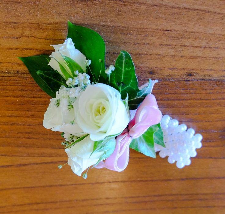 White Rose, Gypsophila, Pink Velvet Ribbon, White Bracelet - St Kents College Ball 2014 #rubyandblush#corsage#schoolball#prom#aucklandflorist#floristauckland#rose#pinkvelvet