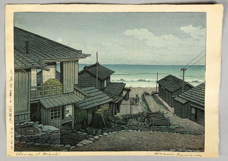 "Kawase Hasui ""Cloudy Day, Mizuki Ibaragi, 1946"" | Cottone Auctions. I love Hasui's block prints."