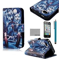 COCO FUN® Blue Wolf Pattern PU Leather Full Body Case with S... – DKK kr. 60