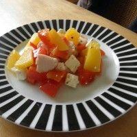 Salade van perziken en gerookte kip : Recepten van Domy