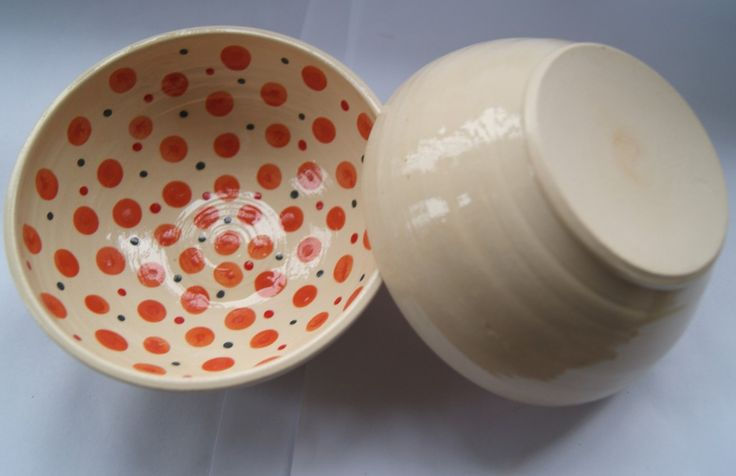 small bowl with orange dots