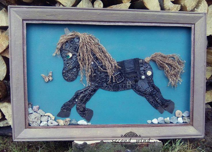 Панно в стиле #steampunk.  #лошадь#эскиз#рисунок#пони#детям#картина