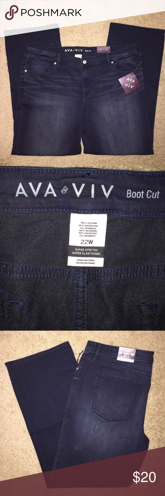 Ava & Viv Super Stretch Boot Cut Dark Wash Jeans Ava & Viv Super Stretch Boot Cut Dark Wash Jeans. Size 22, and never been worn. In great condition! Ava & Viv Jeans Boot Cut