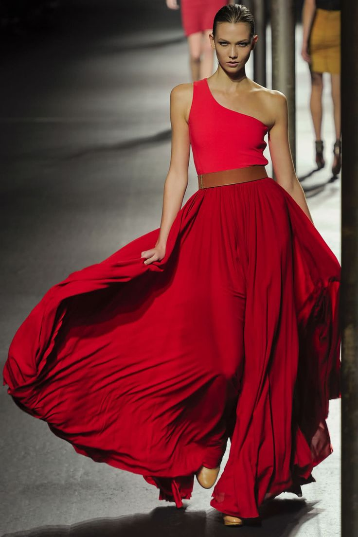 Lanvin-Red one shoulder dress