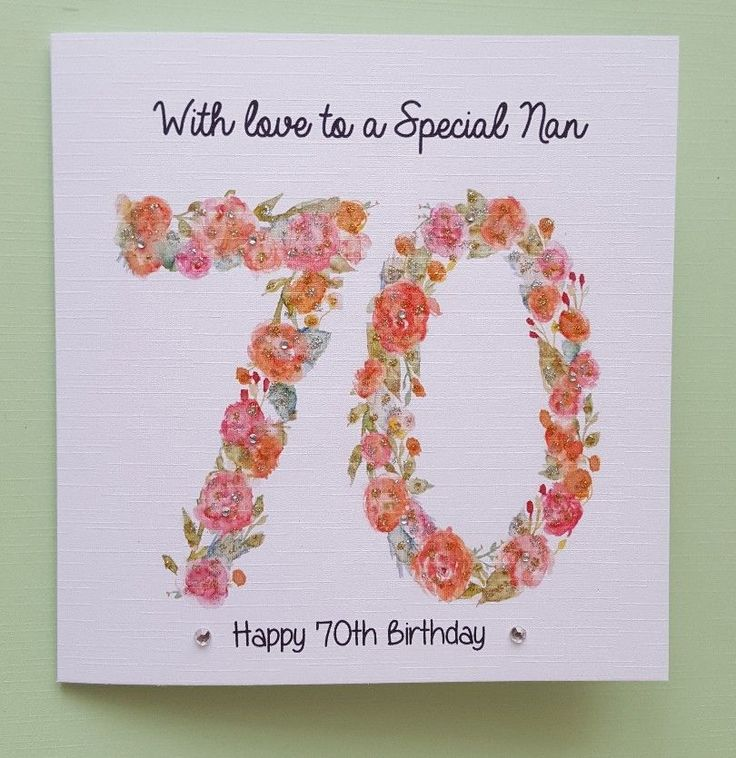 21st 30th 40th 50th 60th 70th 80th 90th. Personalised Handmade Flower Number. Aunt/ Sister/ Cousin/ Friend/ Grand-daughter/Mum/Step-Mum. The card features decorated numbers in flowers which are then overlaid with a sparkle pen and finished off with gems. | eBay!