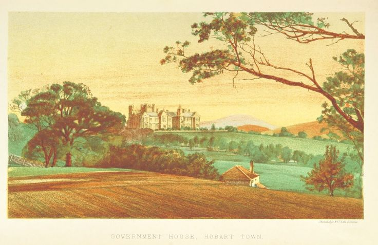 Colour Plate Print from 1871 of the Government House in Hobart Town