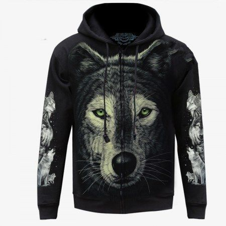 Glow in the dark 3D wolf hoodie for men