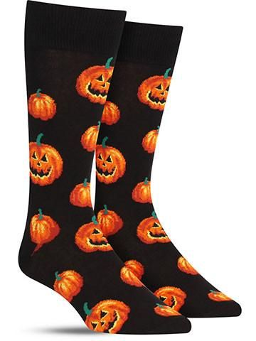 "Don't lose your head trying to find the perfect pumpkin Halloween socks — we've got 'em right here, freshly carved for you! Jack-o'-lanterns originated in Ireland (who would have guessed with that ""o"""