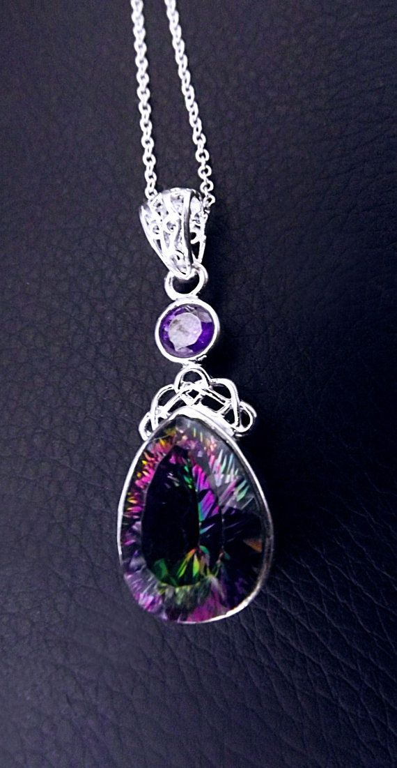 'Perception' Sterling silver Mystic Topaz necklace