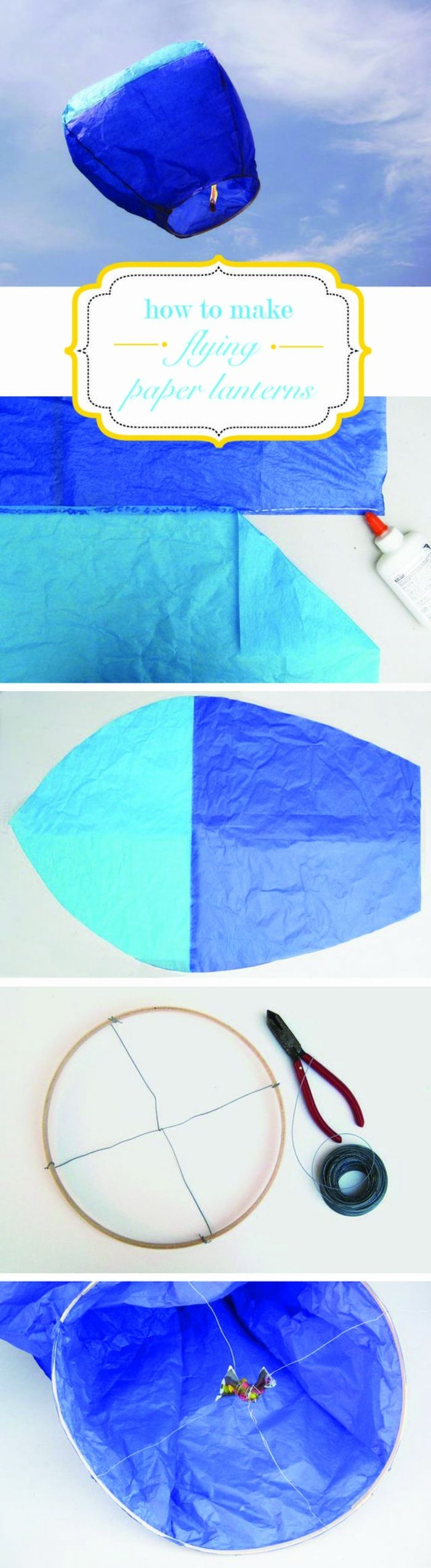 fliegende laterne selber basteln aus blauem papier, zange, faden