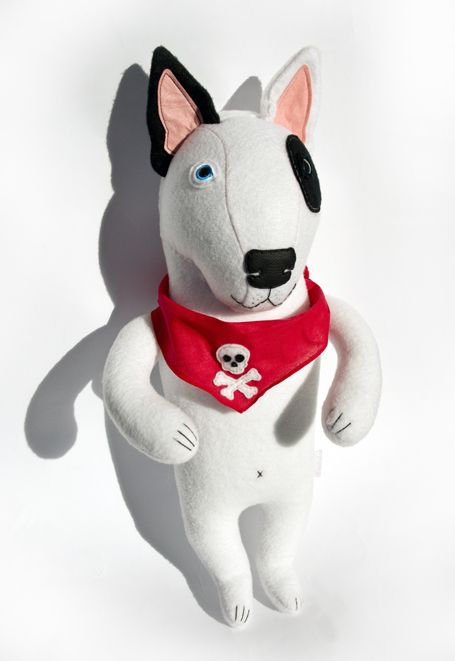 Bull Terrier, soft art toy by entala, via Behance