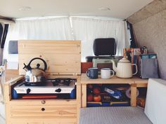 Morning scene in our campervan. A 20 year old VW T4 Transporter with an interior hand-built by my husband. Living the van life. Photograph by @boobearbean on Instagram.