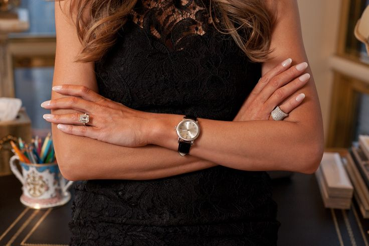Peek Inside Melania Trump's World (And Penthouse!) #refinery29  http://www.refinery29.com/melania-trump-interview-pictures#slide-22  Melania sports a watch and ring from her line. Melania Trump jewelry Photographed by Sam Horine...