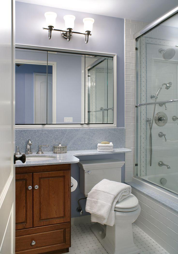 A transitional three piece bathroom gets a fresh look with ...