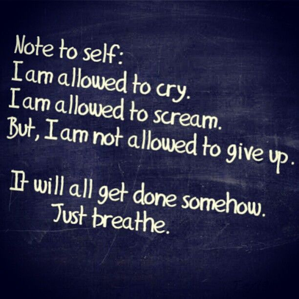 Note to self: I am allowed to cry. I am allowed to scream. But, I am not allowed to give up. It will all get done somehow. Just breathe.
