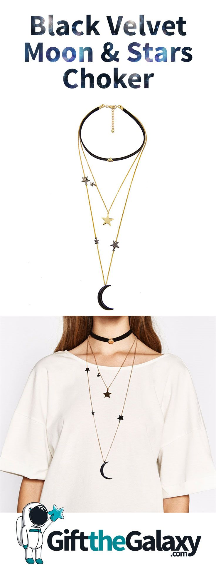 Women's Trendy Necklace Choker Long Length Moon Crescent Pendant Star Stars Kawaii Accessory Accessories Fashion Style Outfit Ideas Jewelry Collar Black Velvet Black Magic Goth Gothic Emo Goddess Chain Swag Gold Plated Tone Three Layer Layered Stacked >> Found on GiftTheGalaxy.com