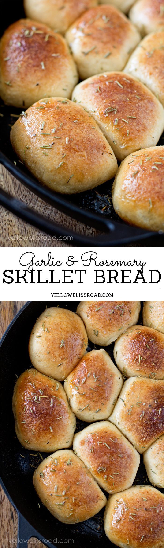 Garlic & Rosemary Skillet Bread - So easy to make, no one will know they started as basic frozen dinner rolls!