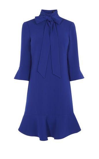 Karen Millen, PUSSY-BOW DRESS Blue