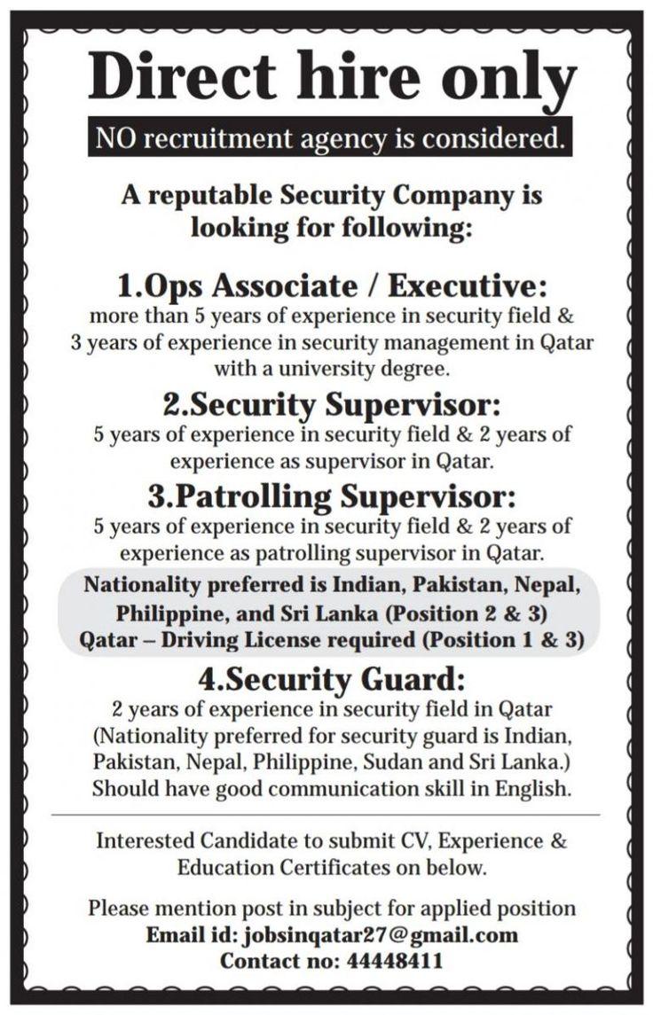 Multiple Openings Qatar in 2020 Qatar, Security