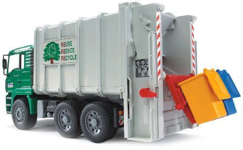 Bruder Toys Man Garbage Truck Rear Loading Green. Read more at http://www.toys-zone.com/bruder-toys-man-garbage-truck-rear-loading-green/: